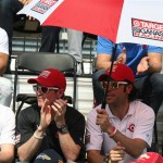 Scott Dixon (L) and Dario Frananchitti (R) at drivers' meeting 2012 Indy 500