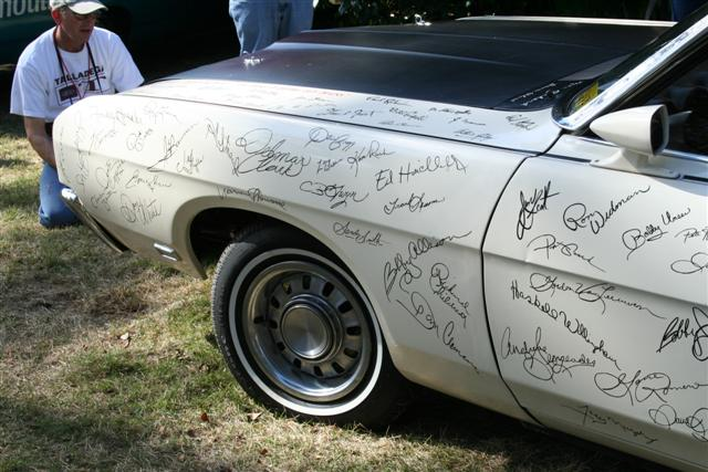 Photo of Bill France Sr. Ford Talladega Autograph Car
