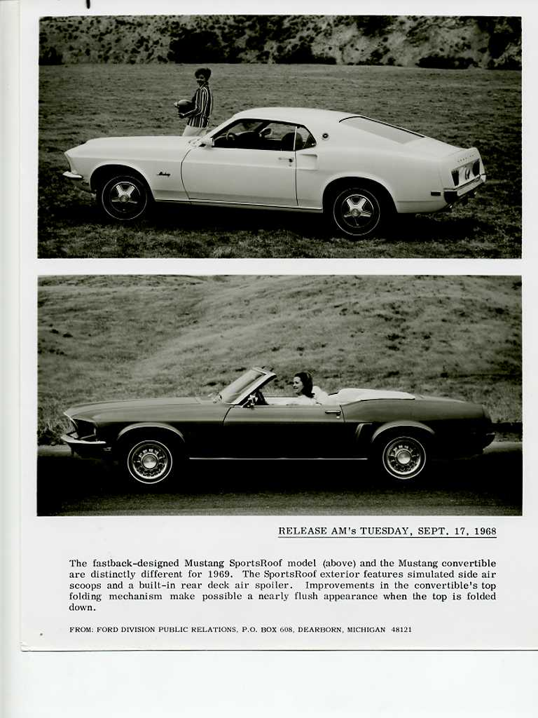 Photo of 1969 Ford Mustang Press Release Photos