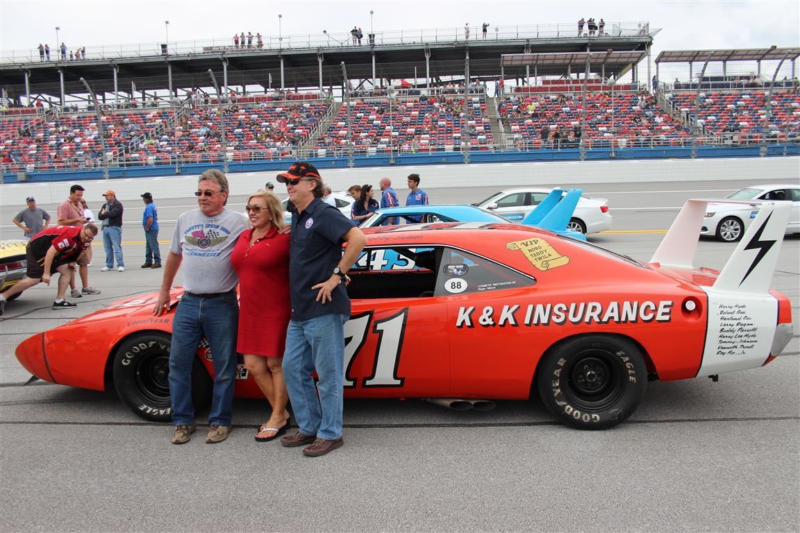 On the left is Ken Troutt an engineer on the #71 K and K Championship winning Dodge Daytona along current owners Pam and Tim Wellborn.
