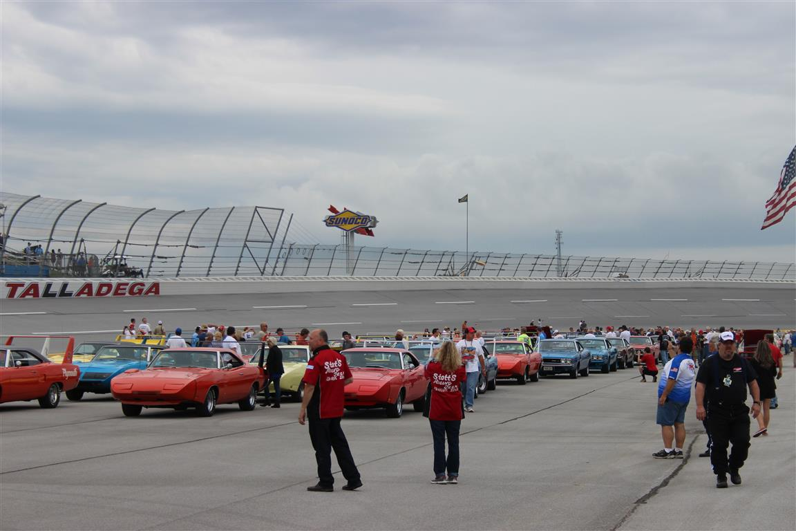This is Talladega, it is a feeling like no other; the Hemi, 440, 427 and 428 engines all at idle and many with open exhaust is really beyond description!