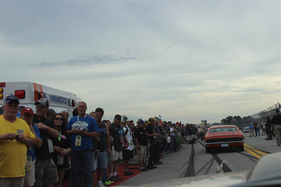 It was more than a thrill to drive through the crowd gathered on the main straight of the Talladega Speedway as we made our Parade lap. It was a huge group of fans!