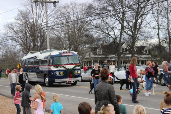"""Leipers Fork Christmas Parade 2015. This """"Class of 56"""" bus got the full restomod touch being converted into a beautiful motor home."""