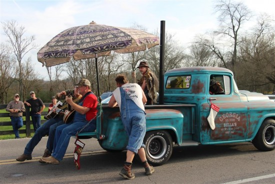 Leipers Fork Christmas Parade 2015; this group of clowns from the back woods was having a great time with the locals. They were drinking a clear liquid from Mason Jars. They seemed real thirsty.
