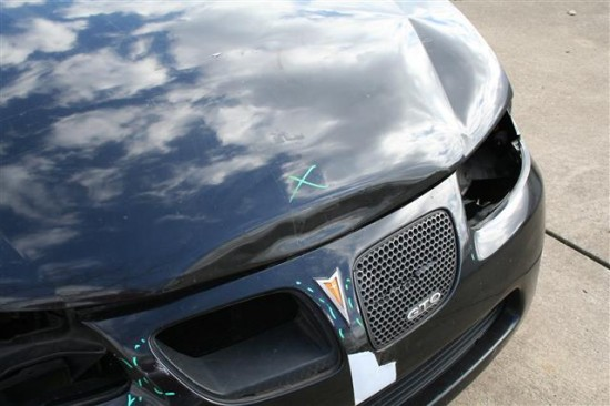 Here is the hood and grill damage.