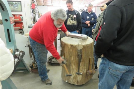 This old tree and the hand tools hanging on it are the focal point of much of the work that goes on in Jim's shop.