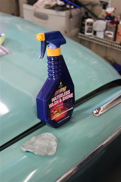 Step one (after a good car soap and wash) is a clay process. We like the Prolong Waterless Wash and Meguialrs Clay. We do a spray down of a small area, rub it smooth with the clay and then wipe it dry and polish.