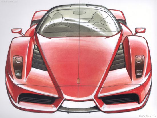 Ferrari handed out work drawings of Ken Okuyama when they premiered the Enzo. If you find out a designer will be appearing at a show, you could buy a print on eBay and take it to the show for the designer to sign it. It'll be worth a lot more--lemme tell ya!