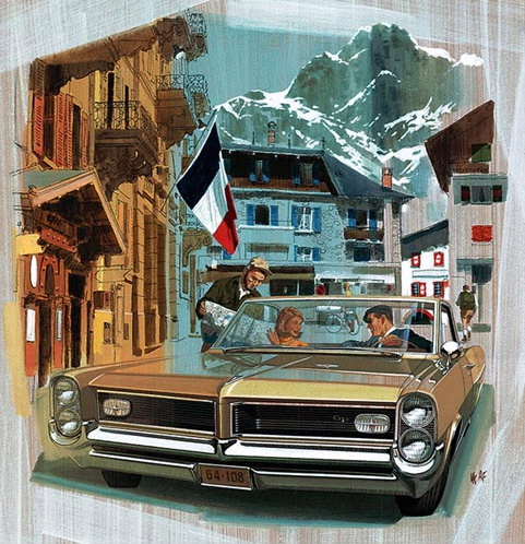 """'64 Pontiac in the French alps. I loved these Van and Fitz ads. Some artwork was available, at least by Fitzgerald, decades later. True they were commercial art but now I'd say they are """"fine art."""""""