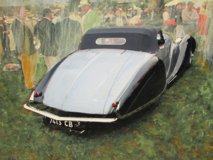 """""""Talbot Lago at Pebble"""" The author's painting is historical, depicting the appearance of a car at an event but also somewhat French impressionistic because it's a French car."""