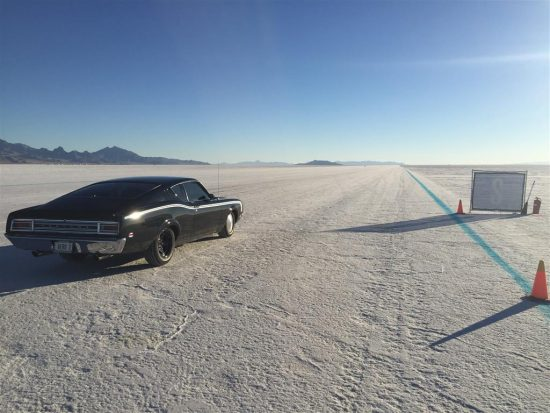 On the Bonneville Salt Flats ready for 150 MPH.